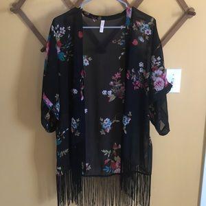 Black with flowers and fringe Kimono